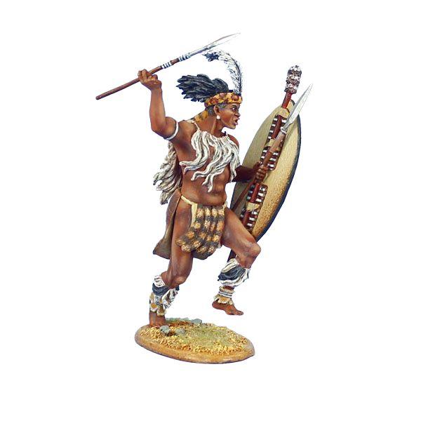 ZUL025 iNgobamakhosi Zulu Warrior Charging with Spear and ...