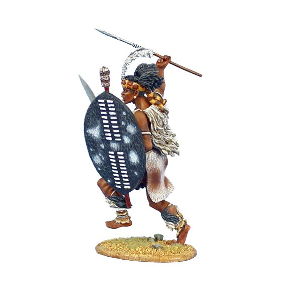 ZUL025 iNgobamakhosi Zulu Warrior Charging with Spear and ...