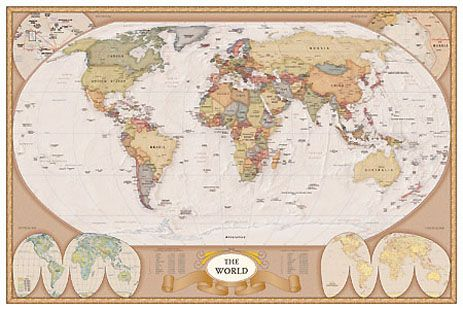 SAF The World Antique Style - Map of the world antique style